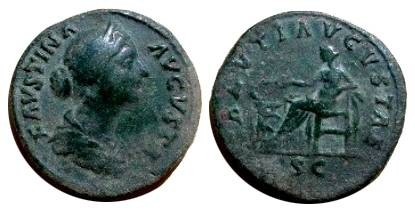 Ancient Coins - Faustina Jr Æ Sestertius.  SALVTI AVGVSTAE, Salus seated left, feeding serpent from patera, SC in exergue.