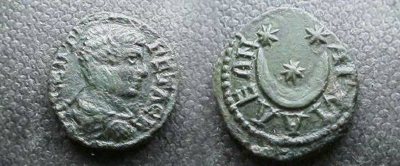 Ancient Coins - Geta AE19 of Anchialos, Thrace. Three stars in crescent moon.