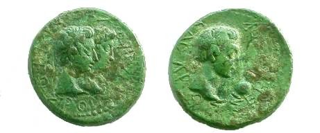 Ancient Coins - Augustus, Æ24, Kingdom of Thrace.  Head of Augustus right, ewer before.