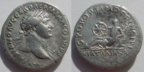 Ancient Coins - Trajan Denarius.  SPQR OPTIMO PRINCIPI, goddess reclining left on rocks with wheel & branch, VIA TRAIANA in ex.