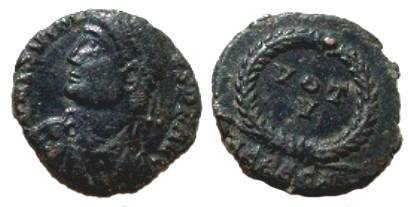 Ancient Coins - Jovian AE3 Follis.  VOT V in wreath, HERACA in ex.