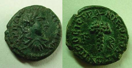 Ancient Coins - Elagabalus AE18 of Nikopolis,Beautiful  bunch of grapes !!Rare