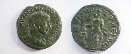 Ancient Coins - Gordian III Æ26 of Hadrianopolis, Thrace.  Nemesis-Aequitas standing left with scales and cubit rod.