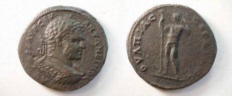 Ancient Coins - Caracalla AE32 of Serdica, Thrace.  Apollo standing facing with scepter and arm over head.