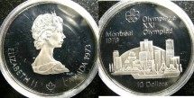 World Coins - Canada $10.00 1973 Skyline Proof, .925 Silver