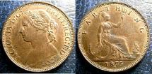 World Coins - ENGLAND 1875-H FARTHING S#3959, KM#753 AU/UNC;