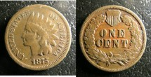 Us Coins - Indian Cent 1875 Fine