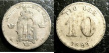 World Coins - Sweden  10 Ore 1882/1  Fine