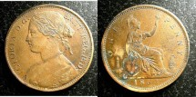 World Coins - England  Penny 1862  EF, spots reverse