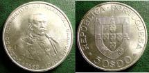 World Coins - PORTUGAL  50 ESCUDOS 1969 MARECHAL CARMONA KM#599 AU/UNC; .6500 SILVER