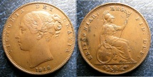 World Coins - ENGLAND 1848 FARTHING S#3950 EF