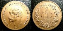 World Coins - Sweden  2 Ore 1857 Au/Unc, Red & Brown