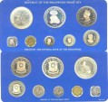 World Coins - Philippines  1976 Proof Set (8 pc) in card, 50 Piso, .925 Silver, 25 Piso, .500 Silver