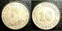 World Coins - Straits Settlements  10 Cents 1918  EF