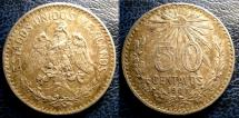 World Coins - MEXICO 50 CENTAVOS 1907 STRAIGHT 7 KM#445  EF