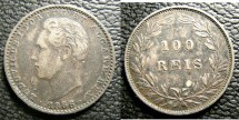 World Coins - Portugal  100 Reis 1886 EF