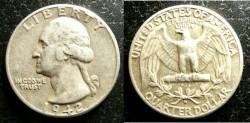 Us Coins - Washington Quarter 1942-D  EF-40