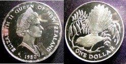 World Coins - New Zealand 1980(i) Dollar, .925 Silver Proof