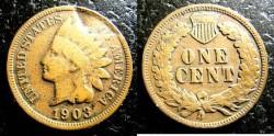 Us Coins - Indian Cent 1903  Lamination error, note indentation above headress