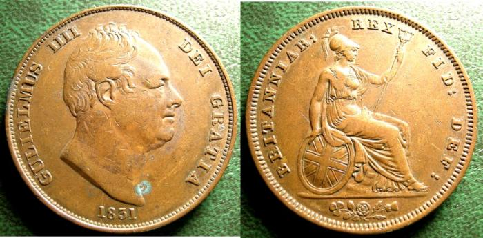 World Coins - ENGLAND 1831 PENNY WILLIAM IV, S#3845 VF+