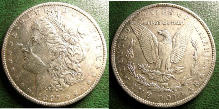 US Coins - MORGAN DOLLAR 1897 AU/UNC, SCUFF ON CHEEK