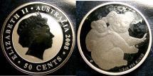 World Coins - AUSTRALIA 50 CENTS 2008 KOWALA 1/2 OUNCE SILVER COIN