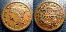 Us Coins - LARGE CENT 1847 VF, NICK ON CHIN
