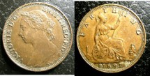 World Coins - England  Farthing 1891  EF