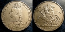World Coins - ENGLAND 1891 CROWN S#3921 EF