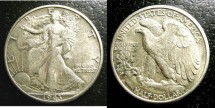 Us Coins - Walking Liberty 1/2 Dollar 1943-D Double date V#104 AU-50
