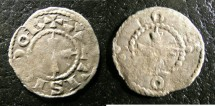World Coins - AUXERRE, Feudal France Denier 1273-1370 F+ Rare