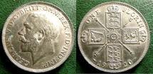World Coins - ENGLAND 1920 FLORIN GEORGE V, S#4022 AU/UNC.