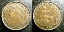 World Coins - England  Farthing 1881-H  EF