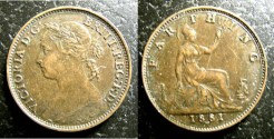 World Coins - England  Farthing 1881-H  EF
