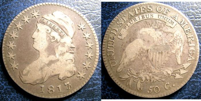 US Coins - BUST HALF DOLLAR 1817/3 OVERTON#101 VG R-3
