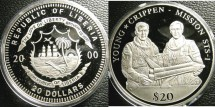World Coins - Liberia  $20.00  2000 Young, Crippen  Mission, STS-1 Proof, .999 Silver