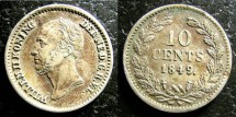 World Coins - Netherlands  10 Cents 1849 Dot EF