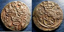 World Coins - SWEDEN 1/4 ORE 1635 ROSE KM#152.2 VF+ GILT