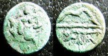 Ancient Coins - Thrace- Pantkapaion AE13, 4th C. BC VF green patina