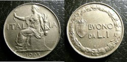 World Coins - Italy  Lira 1923 Unc.