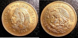 World Coins - Mexico 50 Centavos 1956  Gem BU