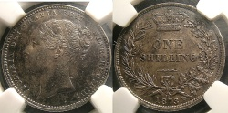 World Coins - ENGLAND SHILLING 1873 VICTORIA  S#3906A NGC AU-58