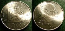 World Coins - CZECHOSLOVAKIA ND 1978 50  KORUN BIRTH OF ZDENEK NEJEDLY  KM-90 BU/UNC; .700 SILVER