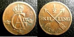 World Coins - Sweden 1/2 Skilling 1803  EF