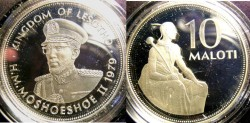 World Coins - Lesotho 10 Maloti 1979 Proof, .925 Silver w/box