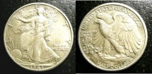 Us Coins - Walking Liberty 1/2 Dollar 1943-D Double Die Obverse, V#104, AU-50