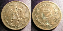 World Coins - Mexico 2 Centavos 1906 Wide Date, VF+
