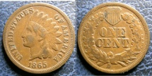 Us Coins - INDIAN CENT 1865 F-12