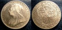 World Coins - ENGLAND 1900 FLORIN S#3939 VF+, .925 SILVER