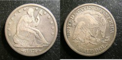 Us Coins - Liberty Seated 1/2 Dollar 1874  VF areas of weakness, etc.